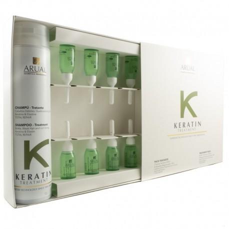 Arual Keratin Treament rinkinys, šampūnas 250 ml. + 8 ampulės 10 ml